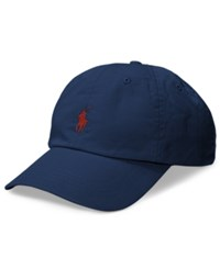 Polo Ralph Lauren Men's Big And Tall Cotton Chino Sports Cap Navy Rl Red