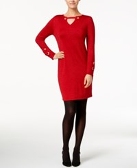Ny Collection Petite Grommet Keyhole Sweater Dress Ruby