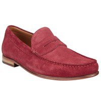 John Lewis Lloyd Suede Penny Loafers Cherry Red