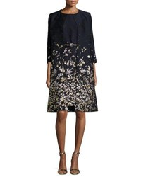 Oscar De La Renta Floral Embroidered 3 4 Sleeve Coat Navy Gold Navy Gold