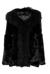 Maje Faux Shearling Trimmed Shearling Hooded Coat Black