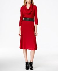Styleandco. Style And Co. Belted Sweater Dress With Cowl Scarf Only At Macy's Holiday Red