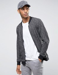 Only And Sons Zip Through Jersey Bomber In Mixed Yarn Detail Black