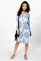 Boohoo Micha Paisley Print Woven Shirt Dress Blue