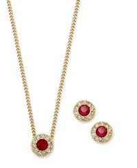 Givenchy Gold Tone Red Crystal Pendant Necklace And Matching Stud Earrings Set