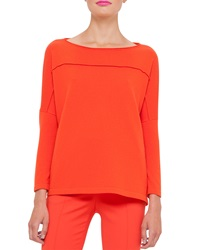 Akris Knit Cashmere Drop Shoulder Sweater Zinnia