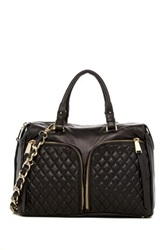Abro Quilted Double Zip Pocket Leather Satchel Black