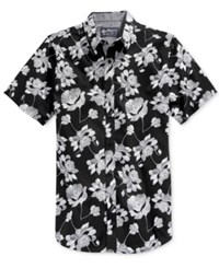 American Rag Danziger Popover Floral Print Short Sleeve Shirt Only At Macy's Deep Black