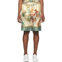 Gucci Off White Silk Printed Shorts