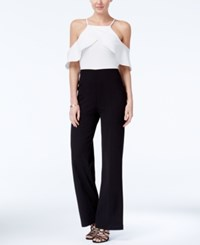 Xoxo Juniors' Colorblocked Ruffled Cold Shoulder Jumpsuit Ivory Black