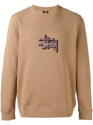 Stussy Embroidered Logo Sweatshirt Men Cotton Polyester Xl Nude Neutrals