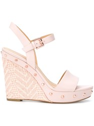 Michael Michael Kors Jill Studded Wedge Sandals Pink And Purple
