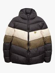 Lyle And Scott Colour Block Puffa Jacket True Black Olive