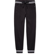 Dolce And Gabbana Slim Fit Tapered Loopback Cotton Jersey Sweatpants Black