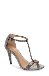 Calvin Klein Women's 'Nasi' Leather T Strap Sandal Shadow Grey Patent