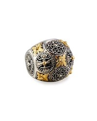 Konstantino Carved Sterling Silver And 18K Floral Dome Ring Silver Gold