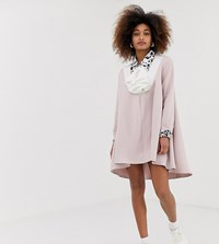 812a67a7a5d Sister Jane Exclusive Dipped Hem Smock Dress With Jewel Buttons And  Dalmatian Trim Pink