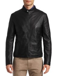 Saks Fifth Avenue Collection Banded Collar Leather Jacket Black