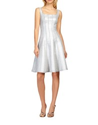 Kay Unger Metallic Tweed Piped A Line Dress Silver
