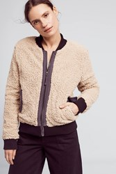 Anthropologie Blocked Sherpa Bomber Beige