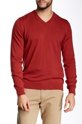 Barbour V Neck Sweater Red