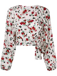 A.L.C. Floral Wrap Blouse White