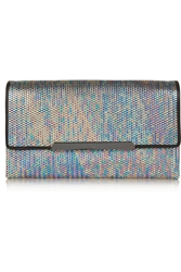 Christian Louboutin Rougissime Leather Trimmed Metallic Pu Clutch