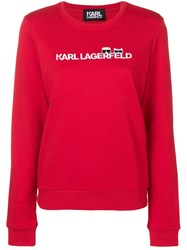 Karl Lagerfeld Ikonik And Logo Sweatshirt Red