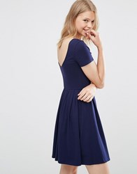 Asos Pleated Skater Dress With Scoop Back Navy