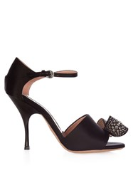 Rochas Bow Embellished Satin High Heel Sandals Black