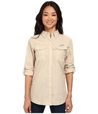 Columbia Bonehead Ii L S Shirt Fossil Women's Long Sleeve Button Up Beige