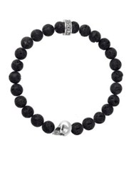 King Baby Studio Lava Rock Sterling Silver Skull Beaded Bracelet Silver Black