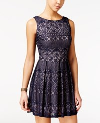 B. Darlin B Juniors' Lace Pleated Fit And Flare Dress Navy Blush