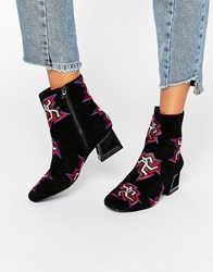 Kat Maconie Daphne Black Dancer Print Heeled Ankle Boots Dancer Print
