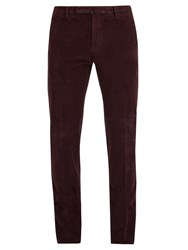 Incotex Mid Rise Slim Leg Stretch Cotton Corduroy Trousers Burgundy