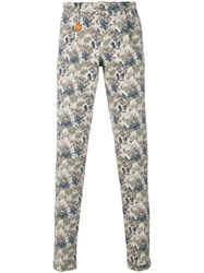Manuel Ritz Leaf Print Trousers Nude And Neutrals