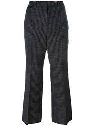 Nina Ricci Checked Houndstooth Flared Trousers Grey