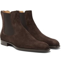 Berluti Leather Trimmed Suede Chelsea Boots Brown