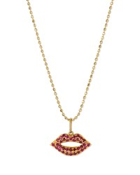 14K Gold Ruby Lips Pendant Necklace Sydney Evan Red