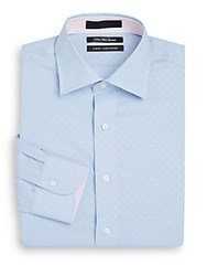 Bogosse Slim Fit Diamond Cotton Dress Shirt Blue