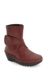 Fly London Women's 'Rada' Platform Wedge Bootie Cordoba Red Mousse Leather