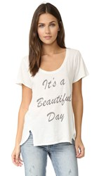 Sol Angeles Beautiful Day Double Split Tee White