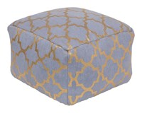 Surya Cecily Cube Pouf Denim Gold Blue