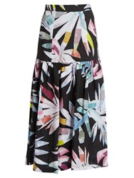 Mara Hoffman Xylophone Black Print Gathered Linen Skirt Black Multi