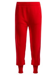 Allude Straight Leg Cashmere Track Pants Red
