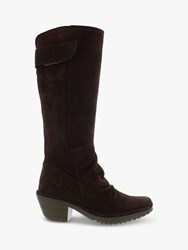 Fly London Waki085fly Leather Suede Knee High Boots Expresso