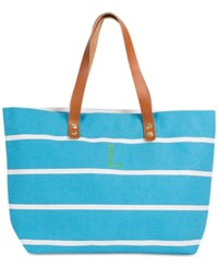 Cathy's Concepts Personalized Light Blue Striped Tote With Leather Handles
