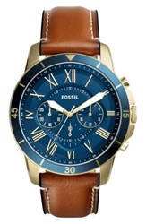 Fossil Grant Chronograph Leather Strap Watch 44Mm