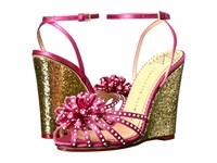 Charlotte Olympia Tina Pretty Pink Gold Satin Glitter Women's Wedge Shoes