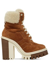 Dolce And Gabbana 90Mm Suede Shearling Trekking Boots Tan